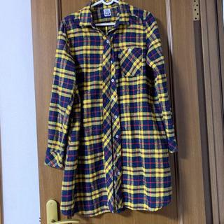 ラフ(rough)のrough♡チェックロングシャツ♡黄色(シャツ/ブラウス(長袖/七分))