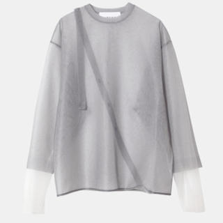 Transparent knit tops グレー