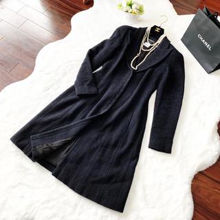 シャネル(CHANEL)の美品 CHANEL シャネル ツイード 女優襟 ブラックパール コート ロング(ロングコート)