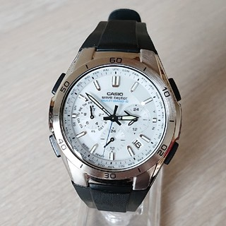 カシオ(CASIO)の美品【CASIO/電波ソーラー】クロノグラフ メンズ腕時計 WVQ-410(腕時計(アナログ))