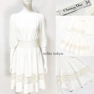 クリスチャンディオール(Christian Dior)のディオール レース刺繍入り ワンピース ホワイト E2201(ひざ丈ワンピース)