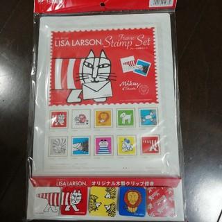 Lisa Larson - 郵便局 リサラーソン 記念切手 オリジナル木製クリップ付き