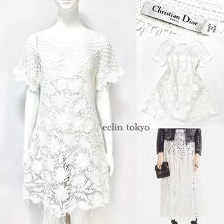 クリスチャンディオール(Christian Dior)のディオール 2018《レース刺繍》ニット編みワンピース マリア E2207(ひざ丈ワンピース)