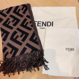 フェンディ(FENDI)のFENDI ブラウンカシミアマフラー(マフラー/ショール)