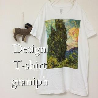 Design Tshirts Store graniph - graniph◇グラニフ◇ゴッホ【糸杉】 Tシャツ