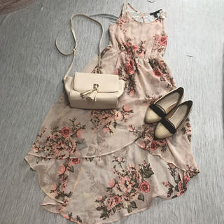 Forever21 ロング ワンピース 花柄 レース 背中開き 美品