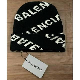 バレンシアガ(Balenciaga)の新品未使用【BALENCIAGA】ロゴニット帽子キャップ★ブラック✕ホワイト(キャップ)
