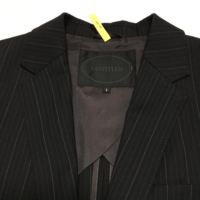 UNTITLED(アンタイトル)の【超美品】UNTITLED* パンツスーツ 黒ストライプ 春~秋 OL 通勤 レディースのフォーマル/ドレス(スーツ)の商品写真