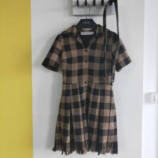 ディオール(Dior)のDIOR ドレス ワンピース ミニ フリンジ ウール チェック(ひざ丈ワンピース)