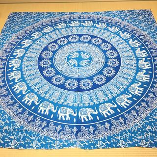 送料無料 新品 マルチカバー こたつカバー エスニック ブルー 正方形 R784