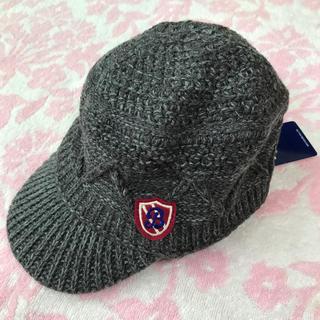 ミキハウス(mikihouse)の【新品】ミキハウス ブラックベア つば付き ニット 帽子 S 48-52cm(帽子)