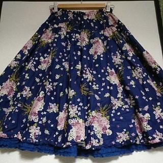 ピンクハウス(PINK HOUSE)の未使用☆ピンクハウス☆ライラックプリントミディ丈スカート(ひざ丈スカート)