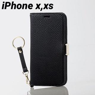 エレコム(ELECOM)のiPhoneX iPhoneXS ケース 手帳型 ブラック カバー ch(iPhoneケース)