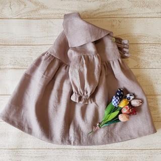 Caramel baby&child  - 受注製作[90~120]セーラーカーラーふんわり袖ワンピース くすみピンク