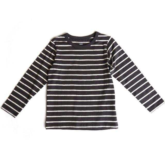 petit main(プティマイン)のオーガニックコットンボーダーTシャツ チャコール120cm 男女兼用ユニセックス キッズ/ベビー/マタニティのキッズ服女の子用(90cm~)(Tシャツ/カットソー)の商品写真