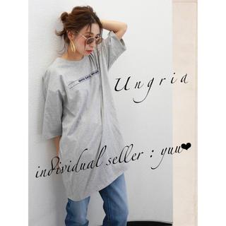 アングリッド(Ungrid)のUngrid ロゴビッグTee グレー ルーズ メンズライク(Tシャツ(半袖/袖なし))