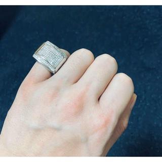 14K WG 天然 ダイヤモンド セレブリティ リング 印台(リング(指輪))