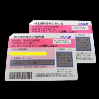 ANA(全日本空輸) - 最新☆ANA 株主優待券 2枚セット 有効期限2021年5月31日まで 送料無料