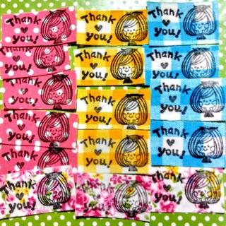 可愛い女の子 Thank Youシール サンキューシール ハンドメイド布シール (カード/レター/ラッピング)