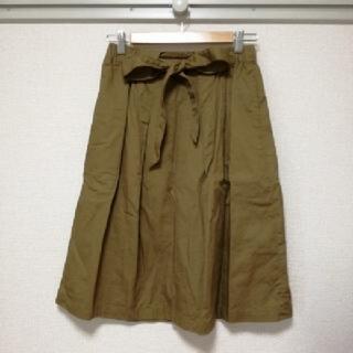 ケービーエフ(KBF)の♪KBF ウエストリボン スカート ブラウン♪(ひざ丈スカート)