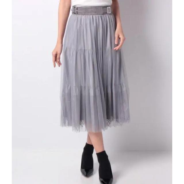 Rirandture(リランドチュール)の【美品】Rirandture 裾レースチュールスカート レディースのスカート(ひざ丈スカート)の商品写真