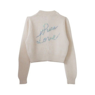 ハニーミーハニー(Honey mi Honey)のHoney mi Honey spangleslogo knit white(カーディガン)