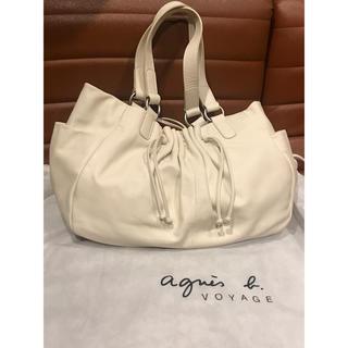 アニエスベー(agnes b.)のアニエスベー レザー 革 白  ホワイトベージュ ハンドバッグ BAG 未使用(ハンドバッグ)