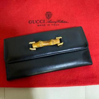 Gucci - 極 美品 GUCCI オールド グッチ バンブー レザー 長財布 黒 財布