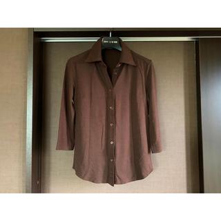 ベルメゾン(ベルメゾン)のシャツカットソー 7分袖 茶色 ブラウン ベルメゾン(シャツ/ブラウス(長袖/七分))