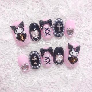 ネイルチップ ピンク 黒 クロミ ゆめかわ 量産型 ガーリー