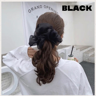 ディーホリック(dholic)の新色 即購入可⭐️オーガンジーシュシュ★ビッグ シュシュ★韓国♥Black(ヘアゴム/シュシュ)