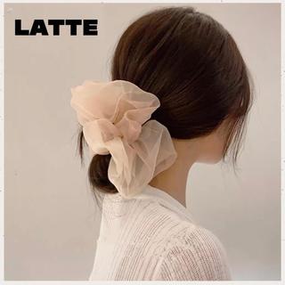 ディーホリック(dholic)の新色 即購入可⭐️オーガンジーシュシュ★ビッグ シュシュ★韓国♥Latte(ヘアゴム/シュシュ)