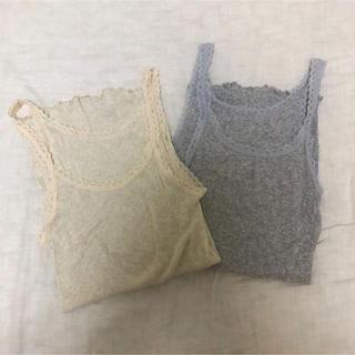 une nana cool - ウンナナクール キャミソール リブ Mサイズ グレー・生成 2枚セット