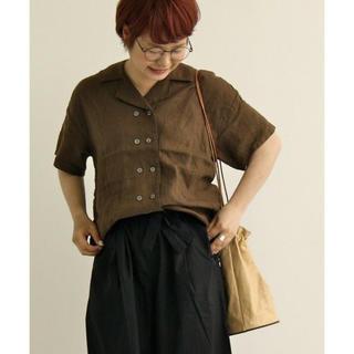 パーリッシィ(PAR ICI)のPAR ICI パーリッシィ フレンチリネン 開襟ダブルシャツ ブラウン(シャツ/ブラウス(半袖/袖なし))