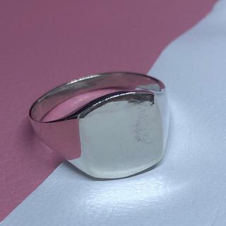 印台 シルバー925 リング シグネット スクエア ギフト銀指輪シンプル ハンコ(リング(指輪))
