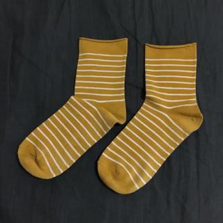 クツシタヤ(靴下屋)の靴下屋 ボーダーソックス  カラシ(ソックス)