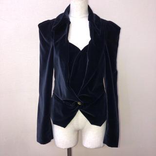 ヴィヴィアンウエストウッド(Vivienne Westwood)のVivienne Westwood  変形ラブジャケット 紺 ベルベット 超稀少(テーラードジャケット)
