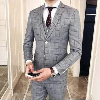 チェック柄スーツジャケット セットアップ 紳士スーツメンズ  パーティー 式(セットアップ)