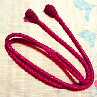 薔薇色と金糸 帯締め 振袖向け(和装小物)