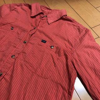 ハーレー(Hurley)のHurleyオレンジレディースストライプコットンシャツ(シャツ/ブラウス(長袖/七分))