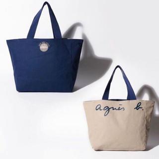 agnes b. - アニエスベー リバーシブルトートバッグ 青色