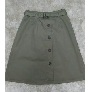 ナチュラルビューティーベーシック(NATURAL BEAUTY BASIC)の共布ベルト付き膝丈タイトスカート(NBB)(ひざ丈スカート)