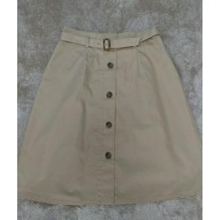 ナチュラルビューティーベーシック(NATURAL BEAUTY BASIC)の共布ベルト付き膝丈フレアスカート(NBB)(ひざ丈スカート)