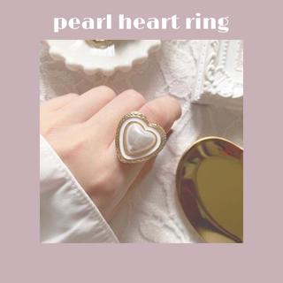 フーズフーチコ(who's who Chico)のパール のハートリング 指輪 ハンドメイド(リング(指輪))