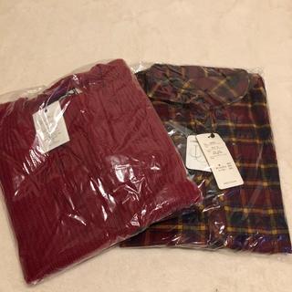 グレイル(GRL)の【新品】GRL グレイル トップス2点セット チェックシャツ 赤ニット(セット/コーデ)