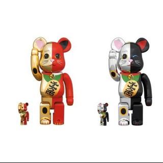 BE@BRICK 招き猫 金×赤 銀×黒 100%&400% 2個セット(キャラクターグッズ)