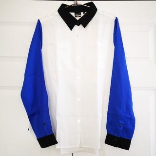 ジーヴィジーヴィ(G.V.G.V.)のユニクロ×g.v.g.v.バイカラーシャツsizeLブラウスUNIQLO(シャツ/ブラウス(長袖/七分))