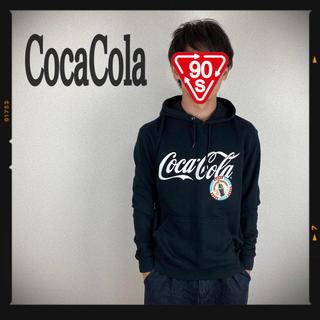 コカコーラ(コカ・コーラ)のコカコーラ パーカー スウェット トレーナー 90s 黒 古着 レトロ(パーカー)