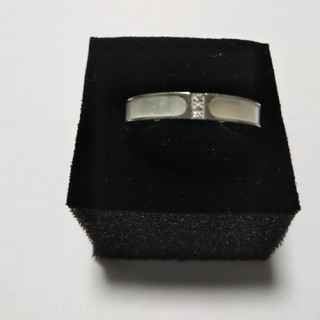 天然白蝶貝使用  レディースチタン指輪  シルバー(リング(指輪))