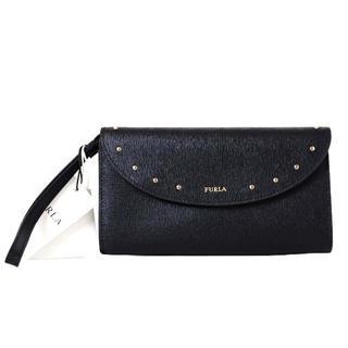 フルラ(Furla)の未使用品 FURLA フルラ スタッズ レザー 二つ折り 長財布 ブラック(財布)